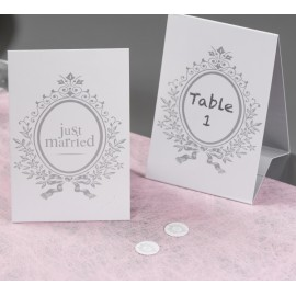 Marque-table Just Married carton blanc 15 cm les 6