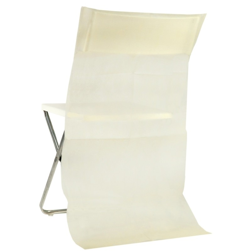 Housse dossier de chaise intiss ivoire les 10 housses de for Housse de chaise dossier rond