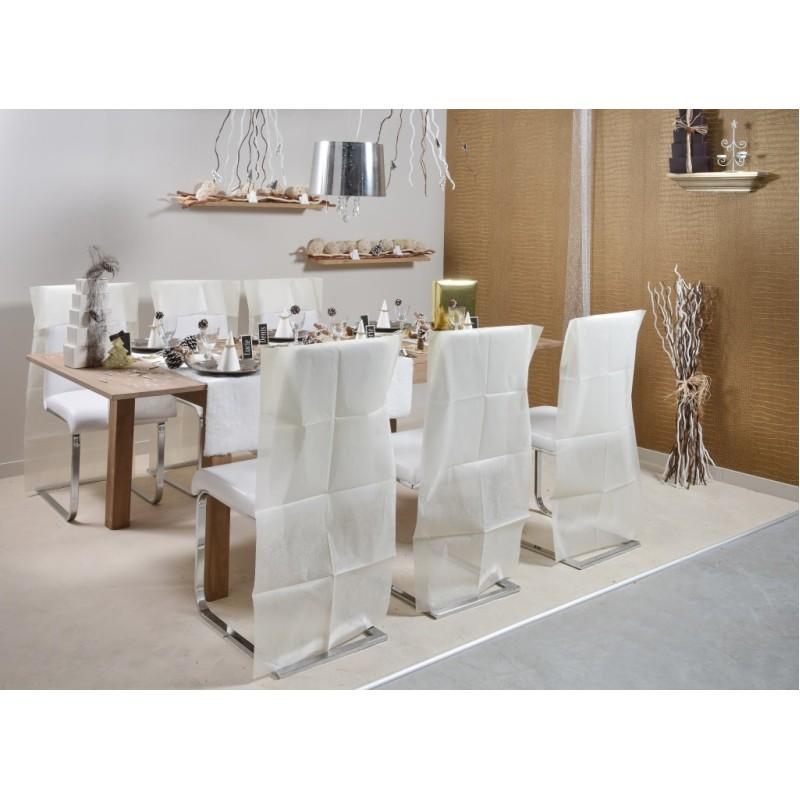 Housse dossier de chaise intiss ivoire les 10 housses de chaises - Housse de chaise dossier rond ...