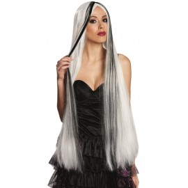 Perruque longue blanche et noire femme