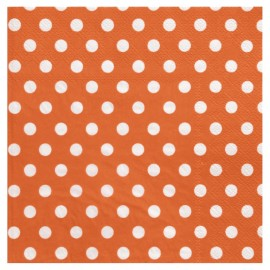 Serviette de table orange à pois en papier les 20