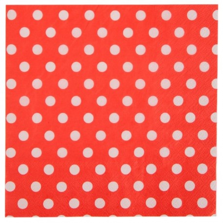 Serviette de table rouge à pois en papier les 20