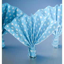 Serviettes papier turquoise à pois les 20