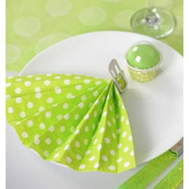 Serviette papier vert anis à pois Serviette de table
