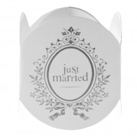 Ronds de serviette Just Married blancs les 6