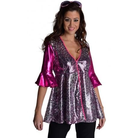 Déguisement Blouse disco femme à paillettes luxe