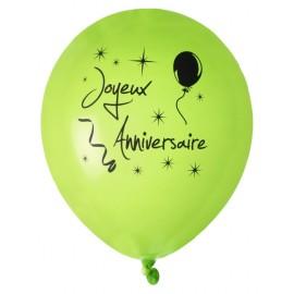 Ballons joyeux anniversaire vert noir 23 cm les 8