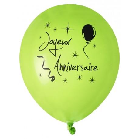 Ballon Joyeux Anniversaire Vert Noir 23 Cm Les 8 Ballons De Baudruche