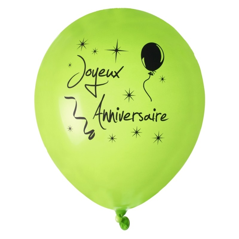 ballon joyeux anniversaire vert noir 23 cm les 8 ballons de baudruche. Black Bedroom Furniture Sets. Home Design Ideas