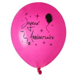 Ballons joyeux anniversaire fuchsia noir 23 cm les 8