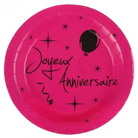 Assiette carton joyeux anniversaire fuchsia 22.5 cm les 10