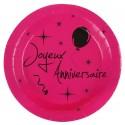 Assiettes carton joyeux anniversaire fuchsia 22.5 cm les 10