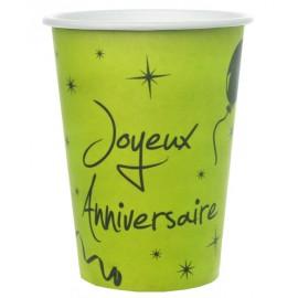 Gobelets carton joyeux anniversaire vert anis les 10
