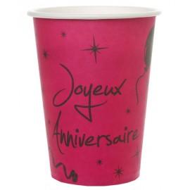 Gobelets carton joyeux anniversaire fuchsia les 10