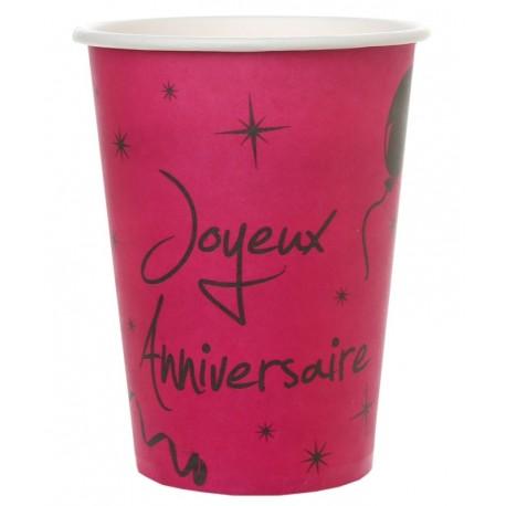 Gobelet carton joyeux anniversaire fuchsia les 10