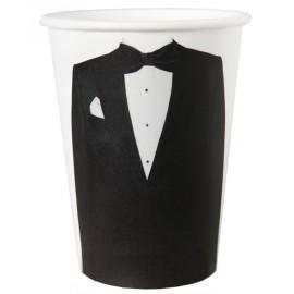 Gobelets carton Mr blanc noir les 10