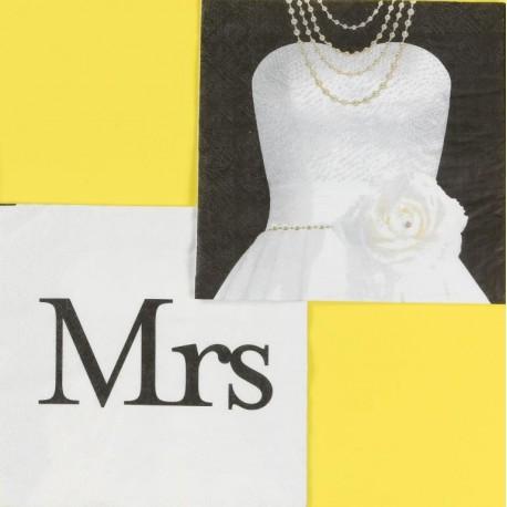 Serviettes de table Mr & Mrs Robe Mrs en papier les 20
