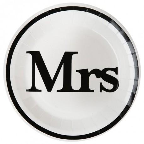 Assiette carton Mr & Mrs blanc noir Mrs 22.5 cm les 10
