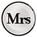 Assiettes carton Mr & Mrs blanc noir Mrs 22.5 cm les 10
