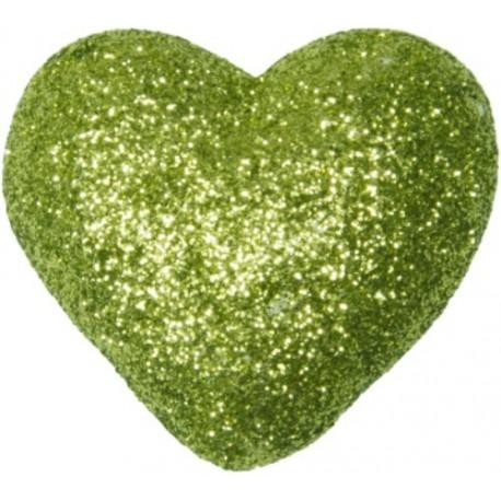 Coeurs Pailletes Festifs Vert Amande