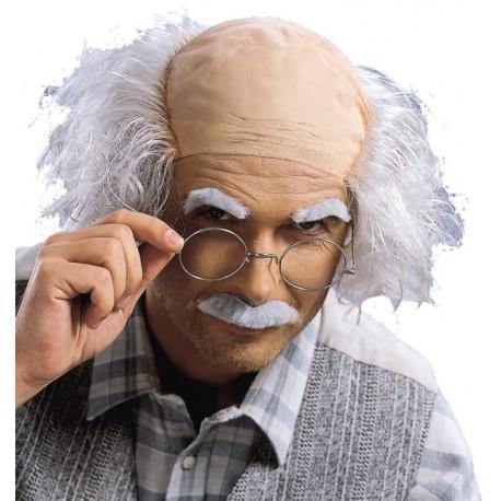 Perruque grand-père homme avec moustache et sourcils