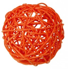 Boule rotin orange 9 cm les 4