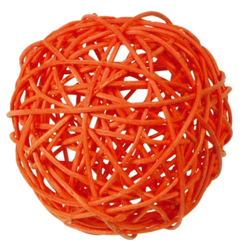 boule rotin orange 9 cm les 4. Black Bedroom Furniture Sets. Home Design Ideas