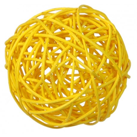 Boule rotin jaune 9 cm les 4