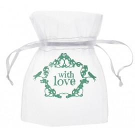 Sachets à dragées vintage with love menthe 10 cm les 10