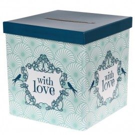 Tirelire vintage with love menthe carton 20 cm