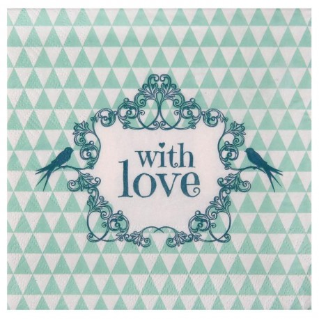 Serviette de table vintage with love menthe papier les 20