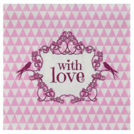 Serviette de table vintage with love rose papier les 20