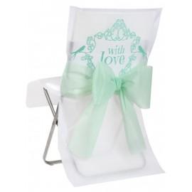 Housse de chaise vintage with love menthe intissé blanc les 10