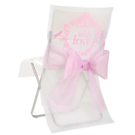 Housse de chaise vintage with love rose intissé les 10