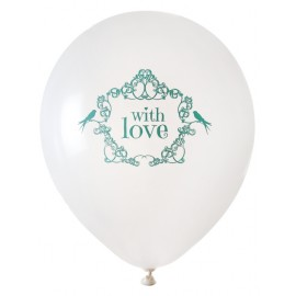 Ballon blanc vintage with love menthe 23 cm les 8