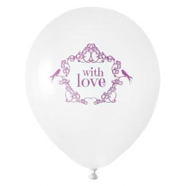 Ballon blanc vintage with love rose 23 cm les 8