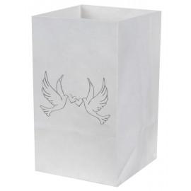 Photophores colombes papier blanc 10 cm les 6
