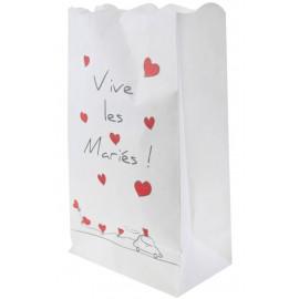 Photophores Vive les Mariés papier blanc 26 cm les 6