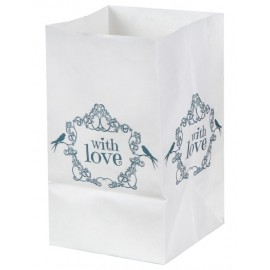 Photophore vintage with love menthe papier 10 cm les 6