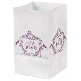 Photophores vintage with love rose papier 10 cm les 6