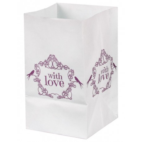 Photophore vintage with love rose papier 10 cm les 6