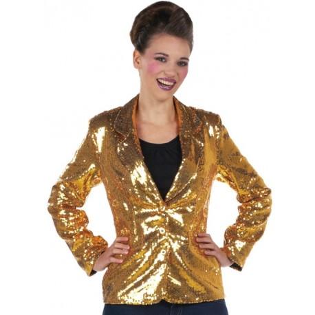 Déguisement veste disco or à paillettes femme