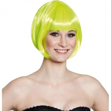 Perruque courte jaune fluo femme