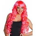 Perruque bouclée longue rose fluo femme