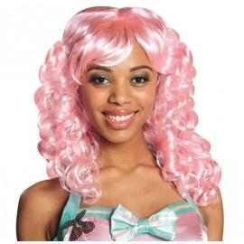 Perruque bouclée mi-longue rose femme