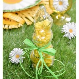 Boîte à dragées lapin plexi transparent 18 cm les 50