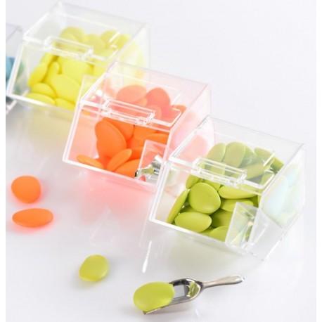 Boîte à dragées distributeur à bonbons plexi transparent les 20