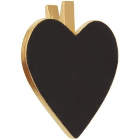 Porte Nom Ardoise Coeur Metallise Or