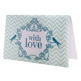 Cartes invitation vintage with love menthe les 6