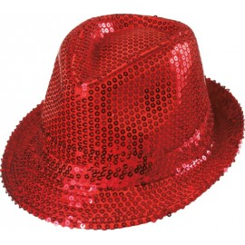 Chapeau borsalino sequin rouge adulte